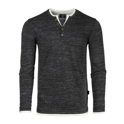 Dream Supply Mens Long Sleeve V-Neck Henley Oil Wash Contrast Seam Vintage Shirt - Silver Grey
