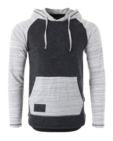 ZIMEGO Long Sleeve Raglan Henley Round Bottom Hood T-Shirts - BLACK / GREY