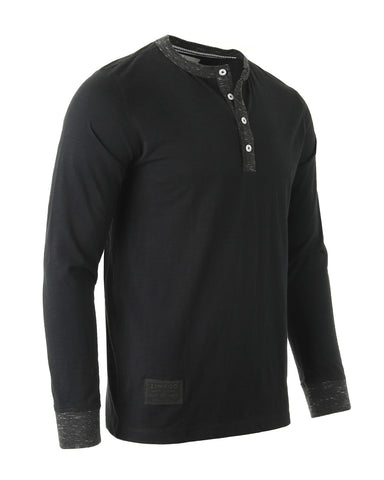 NEW ARRIVAL! - ZIMEGO Men's Long Sleeve Contrast Button Placket Neck Cuffs Casual Henley Shirts