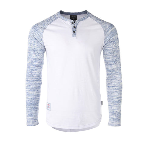 NEW ARRIVAL! - ZIMEGO Men's Long Sleeve Athletic Stripes Arm Contrast Raglan Henley - ZGLS555