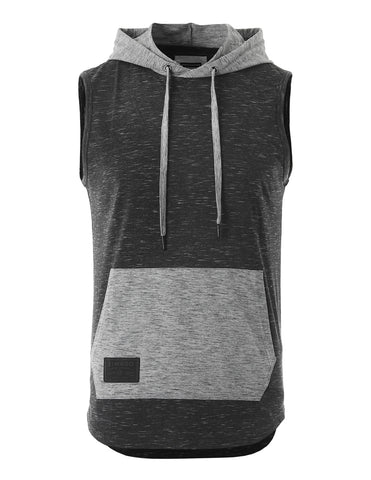 ZIMEGO Men's Color Block Sleeveless Pullover Kangaroo Pocket Workout Hooded Tank - 050
