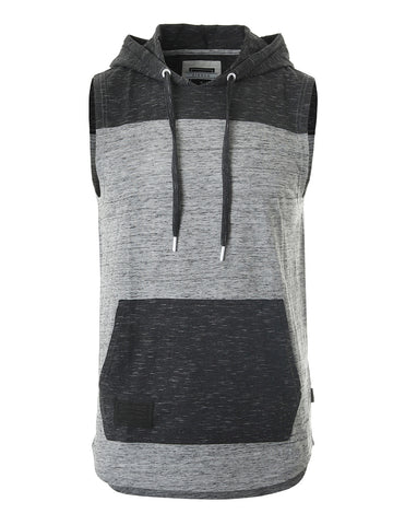 ZIMEGO Men's Color Block Sleeveless Pullover Kangaroo Pocket Workout Hooded Tank - 051
