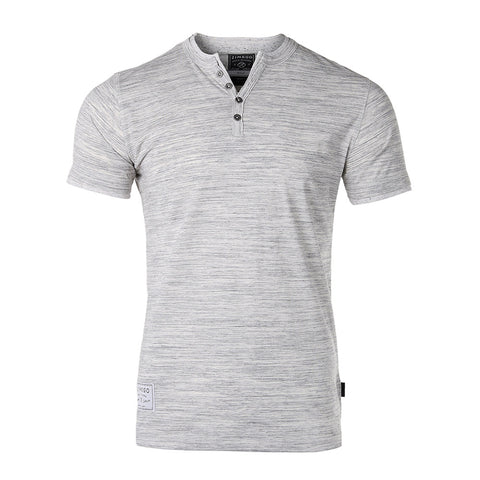 ZIMEGO Mens Short Sleeve Double Layered V-Neck Fashion Henley with Button Placket