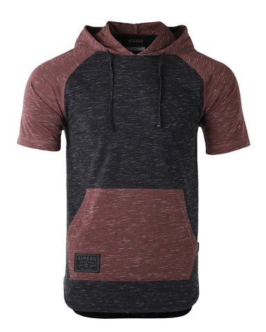 ZIMEGO Men's Short Sleeve Color Block Raglan Hoodie With Curved Hem - Black / Maroon