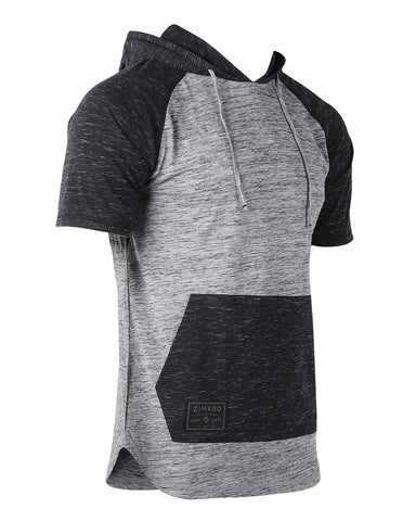 ZIMEGO Men's Short Sleeve Color Block Raglan Hoodie With Curved Hem - GREY / BLACK