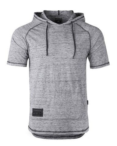ZIMEGO Men's Short Sleeve Color Block Raglan Hoodie With Curved Hem - GREY / GREY