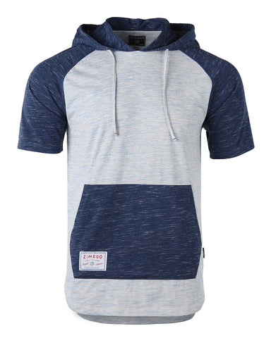 ZIMEGO Men's Short Sleeve Color Block Raglan Hoodie With Curved Hem - HEATHER  NAVY
