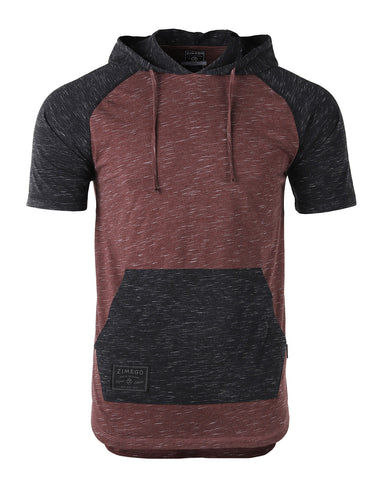 ZIMEGO Men's Short Sleeve Color Block Raglan Hoodie With Curved Hem - MAROON BLACK