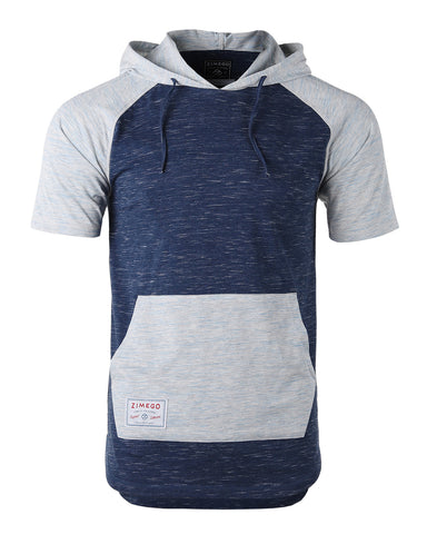 ZIMEGO Men's Short Sleeve Color Block Raglan Hoodie With Curved Hem - NAVY HEATHER