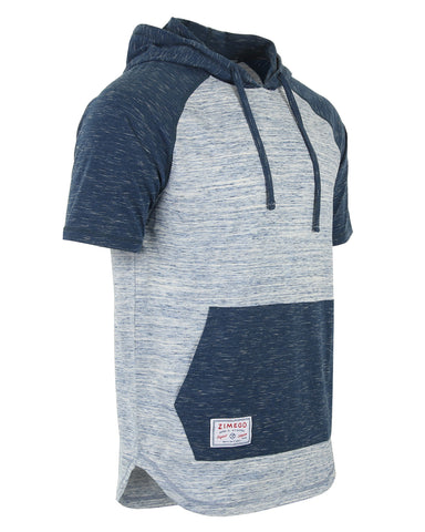ZIMEGO Men's Short Sleeve Color Block Raglan Hoodie With Curved Hem