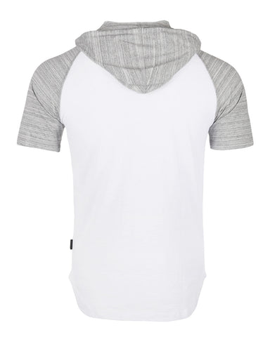 ZIMEGO Men's Short Sleeve Raglan Hoodie Round Bottom Semi Longline T-Shirt