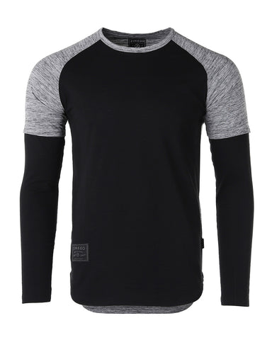 ZIMEGO Men's Twofer Color Block Long Sleeve Curved Hemline Athletic Hiphop Shirt