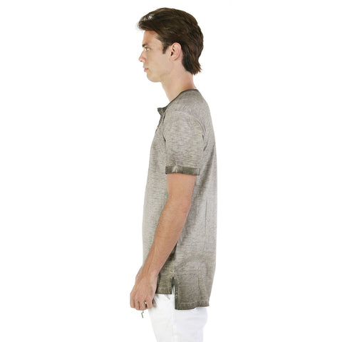 ZIMEGO Men's Vintage Color Dyed Short Sleeve Crew Neck Chest Pocket Henley Shirt