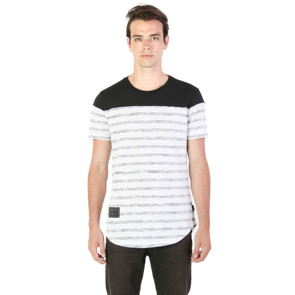 Zimego hiphop stripe printed round bottom longline tall t for Big and tall printed t shirts