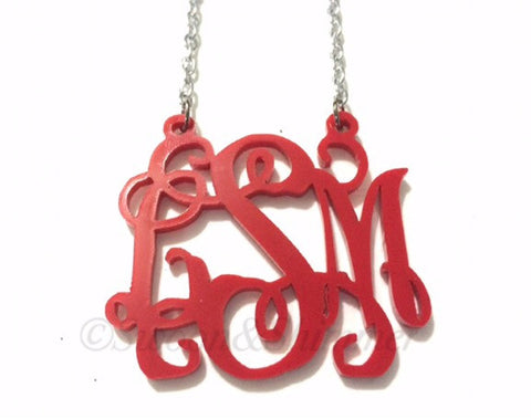Monogram 2 Hole Acrylic Script Plaques - Chain Necklace - Red - Personalized Bracelet Necklace Jewelry 3 Letter