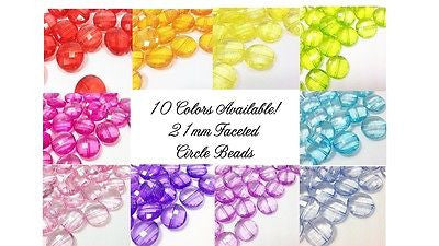 Circular Faceted Beads 10 Colors! 21mm acrylic beads wire bangles jewelry making - Swoon & Shimmer - 1