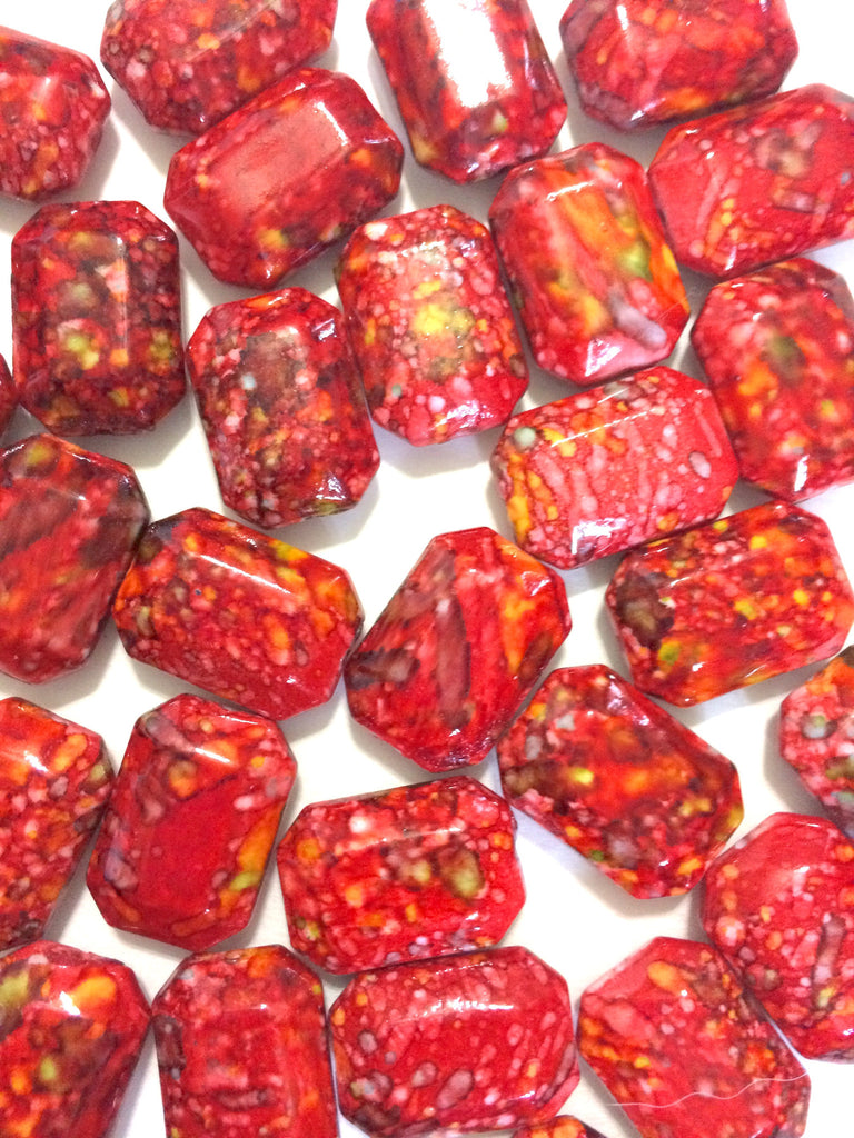 Freckled RED Beads - Octogon 24x16mm Large faceted acrylic nugget beads for bangle or jewelry making - Swoon & Shimmer - 1