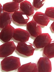 Maroon Marsala Garnet red Large Beads 35x24mm slab faceted acrylic bangle 35mm - Swoon & Shimmer - 2