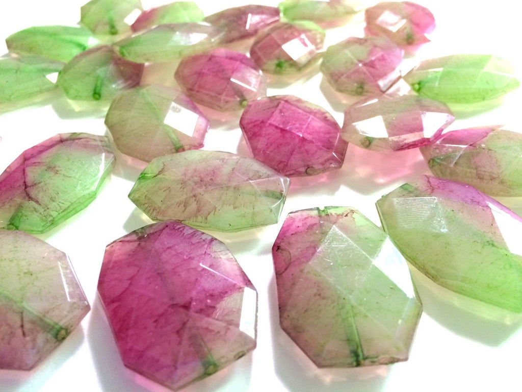 Pink & Green water Large Beads 35x24mm slab nugget faceted acrylic bangle 35mm - Swoon & Shimmer - 1