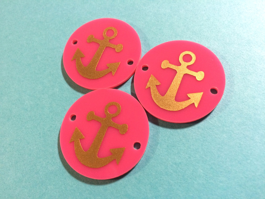 Anchor in Gold on Pink or your choice of disc - jewelry making, bangle bracelet, gift, handmade beads - 1.25 inch - Swoon & Shimmer - 1