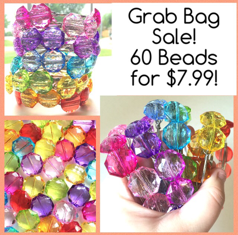 SALE! 10 Color - 60 Beads - 21mm Bead Grab Bag - LIMITED QUANTITIES!