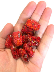 Freckled RED Beads - Octogon 24x16mm Large faceted acrylic nugget beads for bangle or jewelry making - Swoon & Shimmer - 2