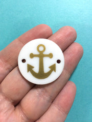 Anchor in Gold on White or your choice of disc - jewelry making, bangle bracelet, gift, handmade beads - 1.25 inch - Swoon & Shimmer - 3