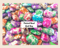 Painted Bead Grab Bag ! 7 color 24x16mm Freckled Octogon Beads - Swoon & Shimmer - 1