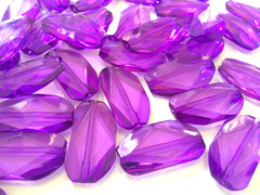 Large PURPLE Gem Stone Beads - Acrylic Beads that look like stained glass for Jewelry Making-Necklaces, Bracelets, or Earrings! 45x25mm Stone - Swoon & Shimmer - 2