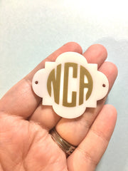 Three Letter Circle Monogram Plaque Bead - Pick Your Colors! - Large Acrylic square bead for jewelry making - 49mm size