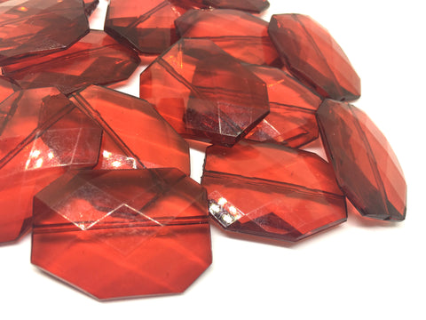 DARK RED Faceted 39mm acrylic beads - chunky craft supplies for wire bangle or jewelry making