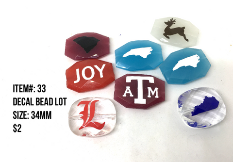Sale Item #33 Decal Bead Lot