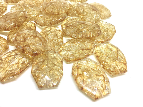 Champagne Dinosaur Egg Clear Faceted 35mm acrylic beads - chunky craft supplies for wire bangle or jewelry making