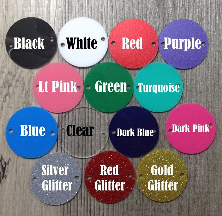 "2 Hole Acrylic Disc - BLANK - 1.25"" Across - 2 Holes for Bangle Making, Necklace or Keychain, Jewelry Making - Flat Rate Shipping!! - Swoon & Shimmer"