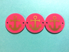 Anchor in Gold on Pink or your choice of disc - jewelry making, bangle bracelet, gift, handmade beads - 1.25 inch - Swoon & Shimmer - 2