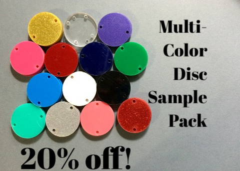 Multi-Color 1 Hole Disc Sample Pack - 14 Colors - Acrylic Blank Discs - Swoon & Shimmer - 1
