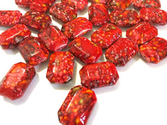 Freckled RED Beads - Octogon 24x16mm Large faceted acrylic nugget beads for bangle or jewelry making - Swoon & Shimmer - 3