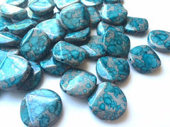 Freckled TURQUOISE BLUE Beads - Circular 26x26mm Large faceted acrylic nugget beads for bangle or jewelry making - Swoon & Shimmer - 2