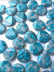 Freckled TURQUOISE BLUE Beads - Circular 26x26mm Large faceted acrylic nugget beads for bangle or jewelry making - Swoon & Shimmer - 4
