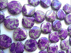 Freckled PURPLE Beads - Circular 26x26mm Large faceted acrylic nugget beads for bangle or jewelry making - Swoon & Shimmer - 2