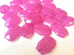 Hot Pink Dinosaur Egg Clear Faceted 35mm acrylic beads - chunky craft supplies for wire bangle or jewelry making