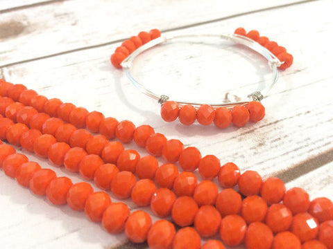 6mm Matte Orange Glass Crystals - Set of 18 Beads for Wire Bangle Bracelet - Bright Orange Faceted Beads - Swoon & Shimmer - 1