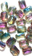 34mm Glass Crystal in rainbow sherbet - faceted crystals for jewelry creation, bangle making, glass beads, bangle beads, multi-color beads
