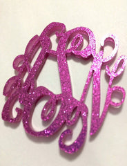 Monogram 2 Hole Acrylic Script Plaques - Wire Bangle Bracelet - Dark Pink Glitter - Personalized Bracelet Necklace Jewelry
