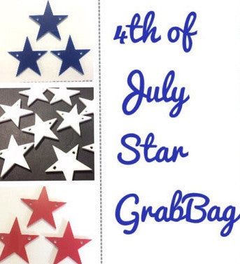 4th of July Grab Bag - Sets of 3 - Acrylic 37mm Stars in Red, White, and Blue - Acrylic blanks - America Independance Day