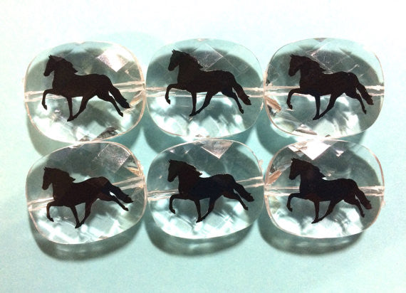 Black Horse on clear beads - bangle bracelet necklace jewelry Equestrian Gift