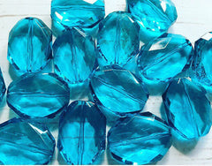 31x24mm Teal Faceted Slab Nugget Beads, Beads for Bangle Making or Jewelry Making, tramsparent beads, chunky beads, statement beads