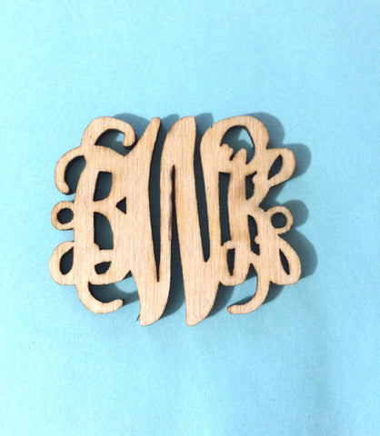 Monogram 2 Hole Acrylic Script Plaques, Silver or Gold Necklace, Natural Wood, Personalized Bracelet Necklace Jewelry, Personalized Gift