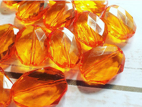 31x24mm ORANGE Faceted Slab Nugget Beads, Beads for Bangle Making or Jewelry Making, transparent beads, chunky beads, statement beads