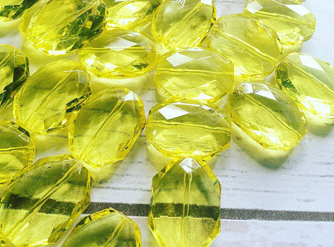 31x24mm YELLOW Faceted Slab Nugget Beads, Beads for Bangle Making or Jewelry Making, transparent beads, chunky beads, statement beads